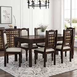 La Junta Brass Inlay Rustic Solid Wood Dining Table Chair Set