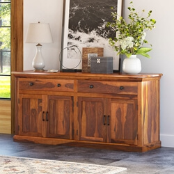 Clermont Rustic Solid Wood 4-Door Large Sideboard Cabinet