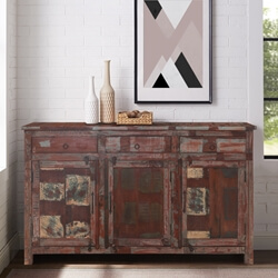 Cerritos Rustic Reclaimed Wood 3 Drawers Large Sideboard Cabinet