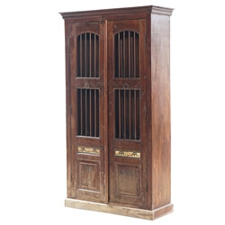 Tuxpan Solid Wood Iron Grill Door 4 Tier Armoire