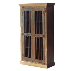 Apizaco Solid Wood Iron Grill Door Armoire With Internal Shelves