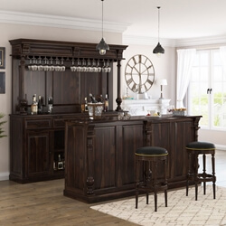 Nahant Rustic Solid Wood Home Bar Set with Stool Set of 2