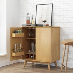 Gamyn Midcentury Modern Solid Wood Bar Cabinet