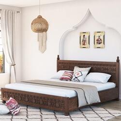 Newari Rustic Solid Wood Traditional Hand-Carved Platform Bed