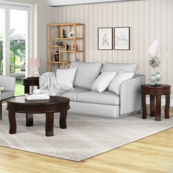 Manitoba Rustic Solid Wood 3 Piece Round Coffee Table Set