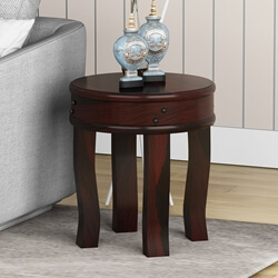 Manitoba Rustic Solid Wood Full Moon Round End Table