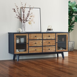 Salzburg Two Tone Solid Wood 6 Drawer Large Buffet Cabinet