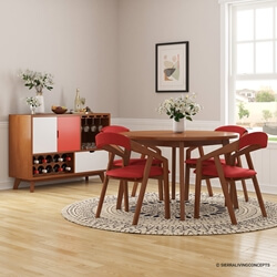 Ambrose Mid-century Modern 6 Piece Dining Room Collection