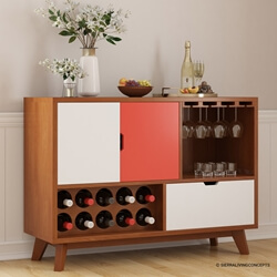 Ambrose Mid-century Modern Teak Wood Wine Bar Sideboard Cabinet