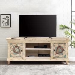 Sibasa Handcarved Rustic Solid Wood TV Media Stand