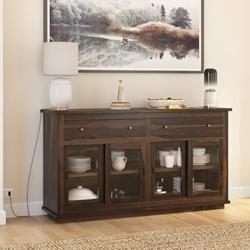 Pescara Rustic Solid Wood  2 Drawer Sliding Door Large Buffet Cabinet