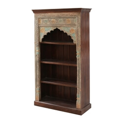 """Kroonstad Hand-carved Mango Wood 71"""" Arched Bookcase"""