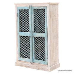 Lattice Door 3 Tier Solid Wood Storage Armoire