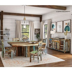 Wilmington Rustic Reclaimed Wood Square Dining Room Set