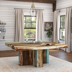 Wilmington Rustic Reclaimed Wood Square Dining Table
