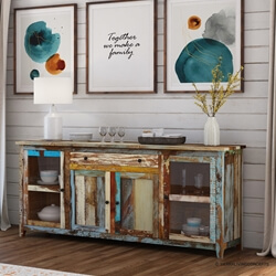 Wilmington Rustic Reclaimed Wood Extra Long Buffet Cabinet