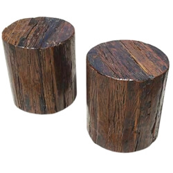 Appalachian Solid Wood 2pc Tree Stump End Table Stool Set