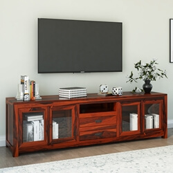 Rustic Solid Wood Long TV Media Stand Console