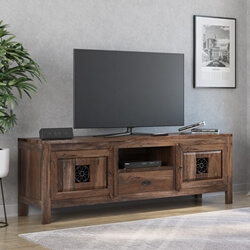 Appalachian Iron Flower Solid Wood Long TV Media Console Cabinet