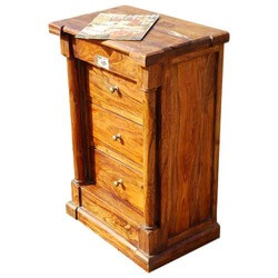 Appalachian Rustic Honey Maple 3 Drawer End Table
