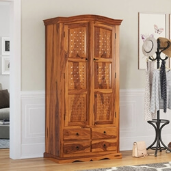 Crawford Handcrafted Solid Wood Wardrobe Armoire With Shelves & Drawer