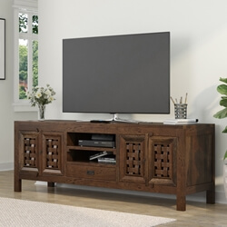 Portland Contemporary Rustic Solid Large TV Stand Media Console