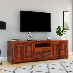 Santa Cruz Rustic Solid Wood 2 Drawer Large TV Stand Media Cabinet