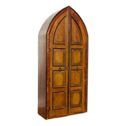 Norwich Cathedral Style 4 Shelf Solid Wood Rustic Armoire Cabinet