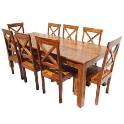 Large Rustic Oklahoma Solid Wood Dining Table & Chair Set