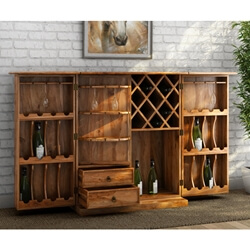 Raleigh Rosewood Expandable Wine Bar Cabinet With Wine Racks
