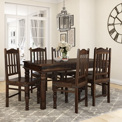 Oklahoma Farmhouse Traditional Solid Rosewood Country Dining Table Set