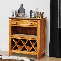 Crown Farmhouse Rustic Solid Wood Wine Bottle Rack Cabinet