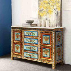 Red Dahlia Hand Painted 4 Drawer Large Sideboard Cabinet