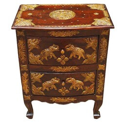 Royal Brass Accent Solid Side End Storage Table Cabinet