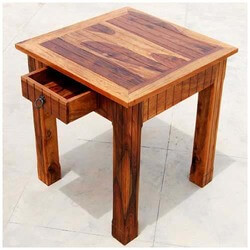 Rustic Solid Wood Storage Drawer Square Side End Table