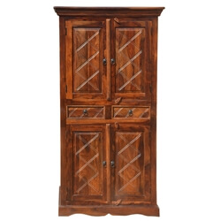 Loyola 4 Door Rustic Solid Wood Cabinet Armoire With Shelves & Drawers