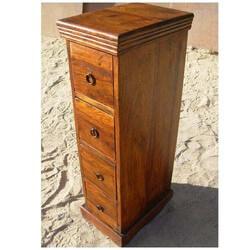 Rustic Wood 4 Drawer Storage Chest Corner Table