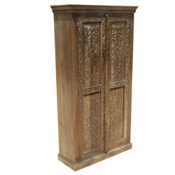 Intaglio Handcarved Doors Solid Wood Armoire Cabinet With Shelves