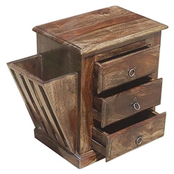Moreno Rustic Solid Wood Walnut 3 Drawer Newspaper Nightstand Cabinet