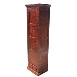 "Boston Harmony 71"" Tall Hand Carved Floral Narrow Armoire Cabinet"