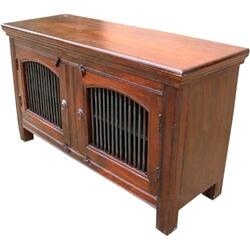 Wade Solid Wood 2 Wrought Iron Door Rustic Buffet Cabinet