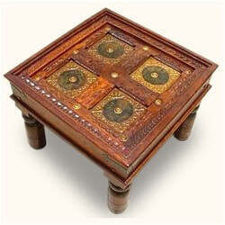 Adelphi Handcrafted Brass Inlay Solid Wood Square End Table