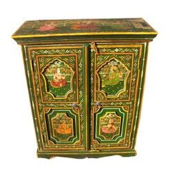Montclair Hand Painted Green Royal Mughal Mango Wood Storage Cabinet