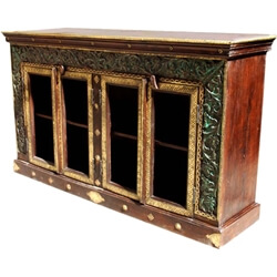 Vineland Heritage Carved Brass Inlaid Glass Door Large Buffet Cabinet
