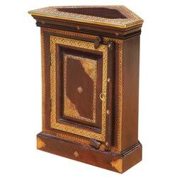 Heritage Handcrafted Brass Inlay Solid Wood Corner End Table