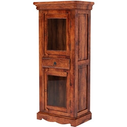 Langley Solid Wood Small Linen Cabinet With Glass Doors And Drawer