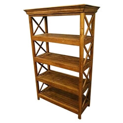 Novato 4 Open Shelf Rustic Solid Wood Bookcase