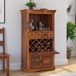 Alabama Solid Wood Bar Cabinet With Drop Down Wine Display Rack