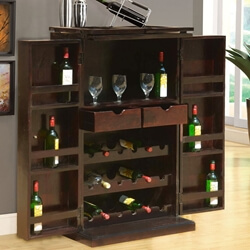Mexico Traditional Handcrafted Solid Wood Expandable Wine Bar Cabinet