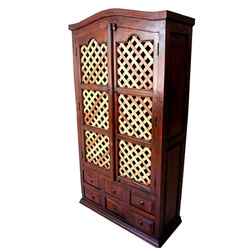 Gretna Freestanding Lattice Door Solid Wood Armoire Closet w 6 Drawers